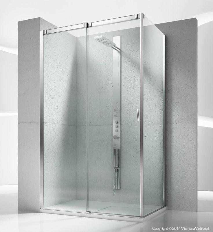 Frameless sliding shower enclosure for rectangular corner shower trays. It consists of a front sliding element and a side fixed panel. Shower enclosures Slide by @vismaravetro | VQ+VF