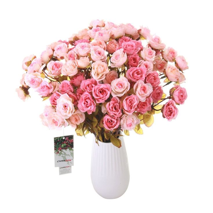 CHANZON Artificial Flower Rose Bouquet (Not Include Vase, 2 Bunches Small  Pink Heads) Fake Plastic Fabric Silk Arrangement For Home Decor Wedding  Table ...