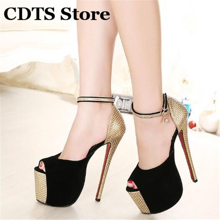 46.91$  Buy here - http://airbn.worlditems.win/all/product.php?id=1812595490 - Plus:35-44 Free shipping 2016 brand sexy 18cm Ultra high diamond thin heels woman sandals,ladies  shoes Buckle Red Bottoms pumps