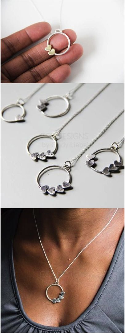 The Mother's Day gift search has reached it's end. This beautiful necklace is customizable with as many hearts as those that love mom | Made on Hatch.co by independent designers & jewelry makers
