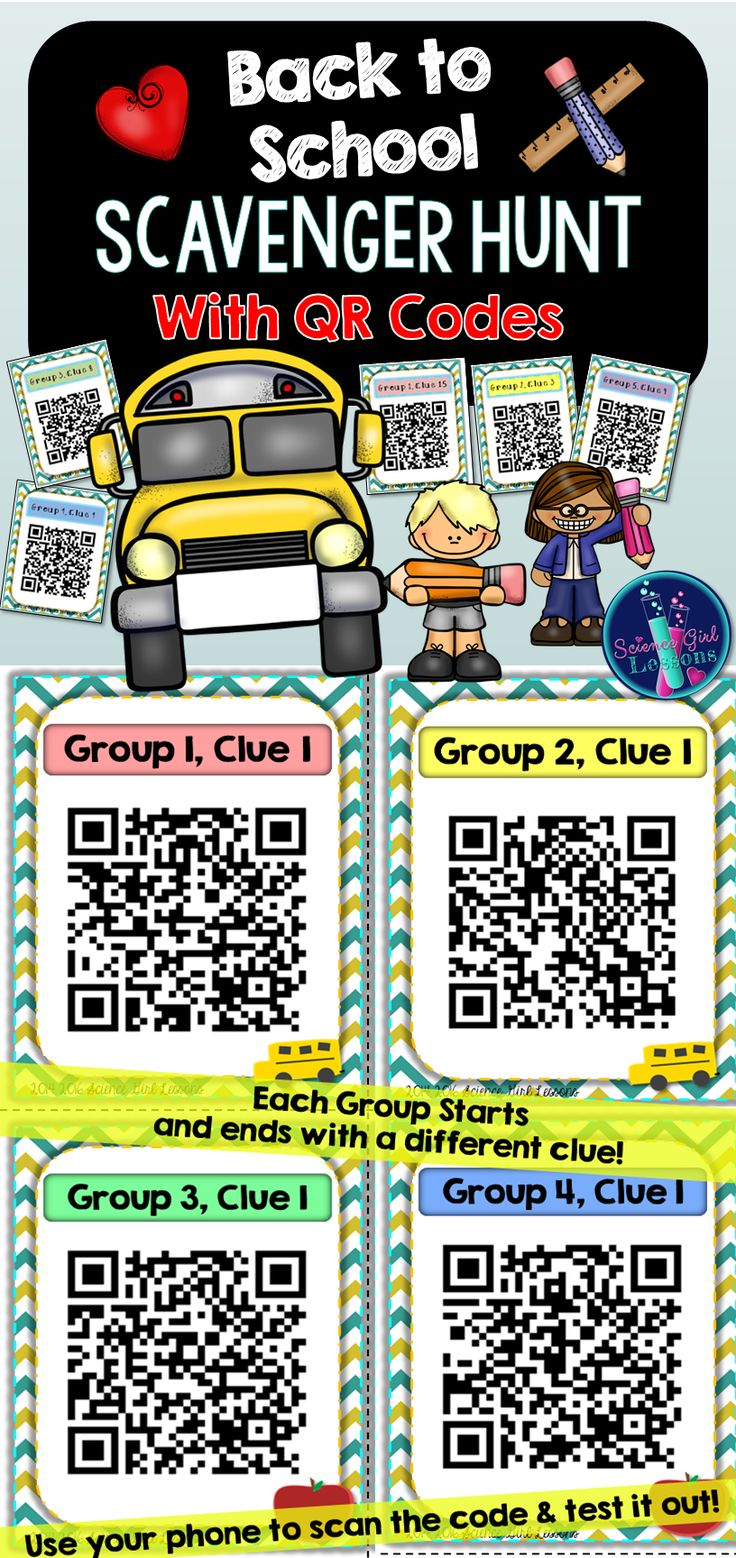 Start your school year with a hunt! Have your students decode and scan clues, complete activities, and have a blast racing to complete this unique scavenger hunt. ($) Scan the QR Codes for yourself to see how this hunt could work for your classroom.