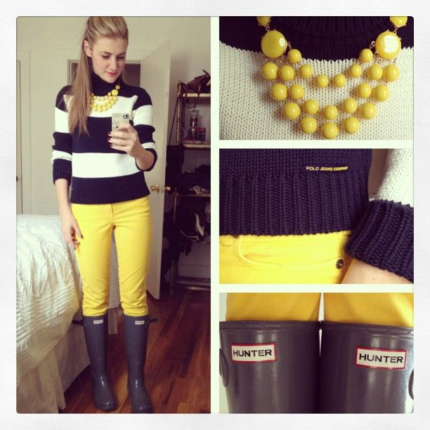 Photo by karlareed Hunter Boots with Stripes & a Pop of Yellow