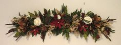Floral Swag, Silk Floral Wreath, SHIPPING INCLUDED, Summer Magnolia Floral Wall Arrangement, Over Picture, Door, Window Swag, Wreath by GiftsByWhatABeautifu on Etsy