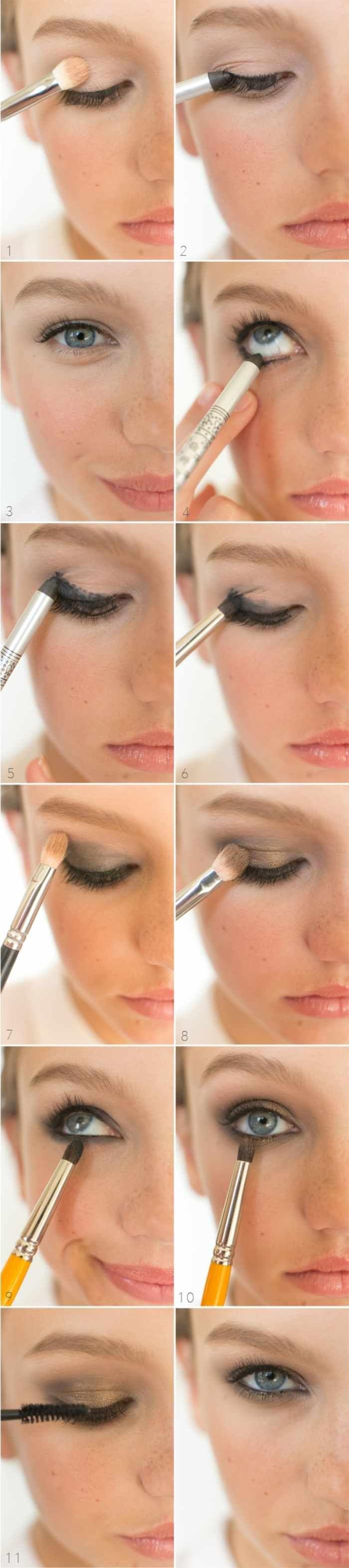 alltagstaugliches Smokey-Eyes Makeup mit Goldschimmer