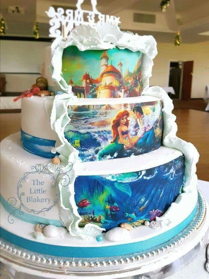 Little Mermaid Wedding Cake Little Mermaid Wedding Disney Wedding Cake Ocean Wedding Cake