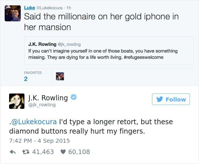 17 Times J K Rowling Dealt With Twitter Trolls In The Funniest Way Possible Rowling Jk Rowling Rowling Tweets