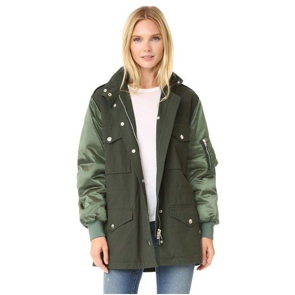 Alexander Wang Parka Bomber Jacket (12,865 GTQ) ❤ liked on Polyvore featuring outerwear, jackets, army, fleece-lined jackets, military parka, army bomber jacket, military utility jacket and military flight jacket