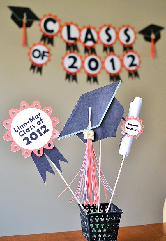 Graduation Party Decorations CUSTOM COLORS by bcpaperdesigns