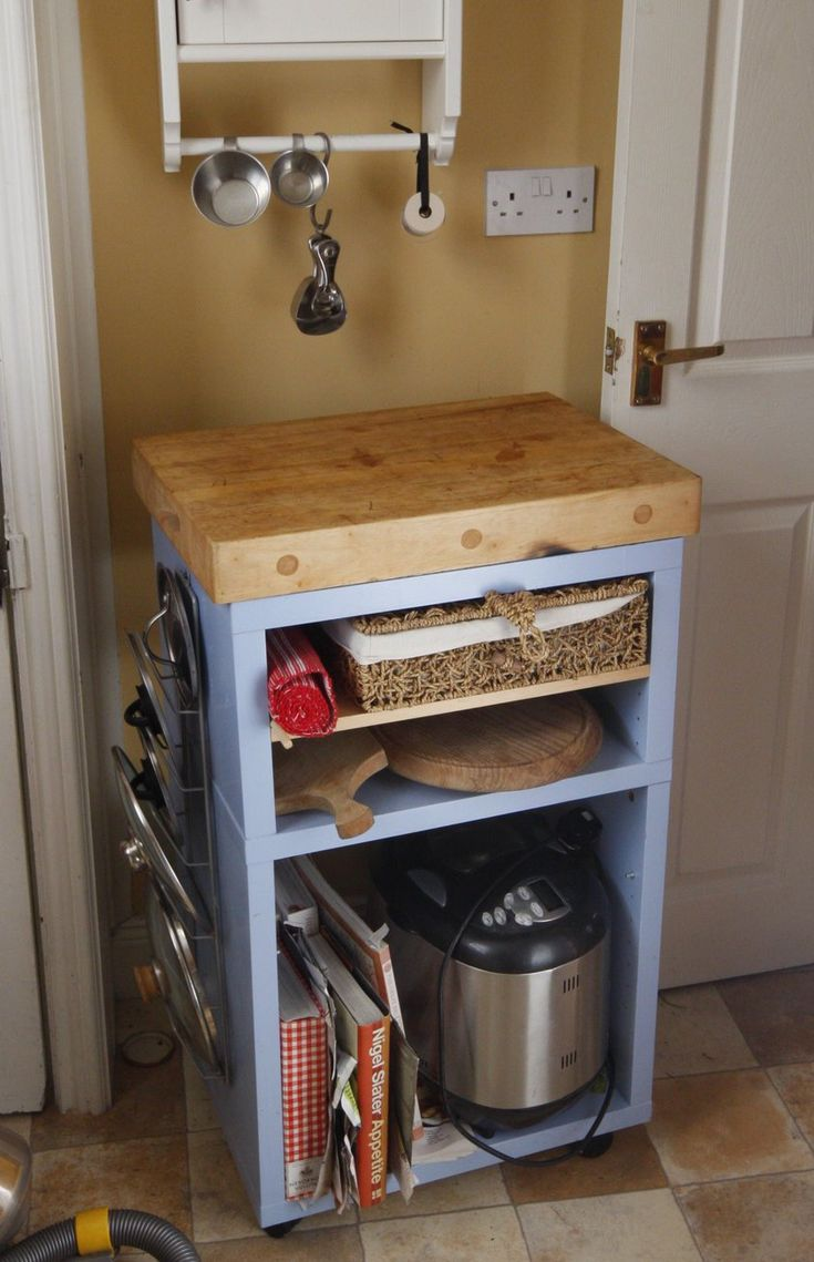 Materials: 2 x bedside unit (we think it was LACK but the nearest they now sell is called KONSMO), 1 x Large chopping board, also originally from IKEA (no longer stocked), a handful of screws, a saw, and 1 pot of paint. Description: When we moved into our current house, the kitchen was small, awkwardly …