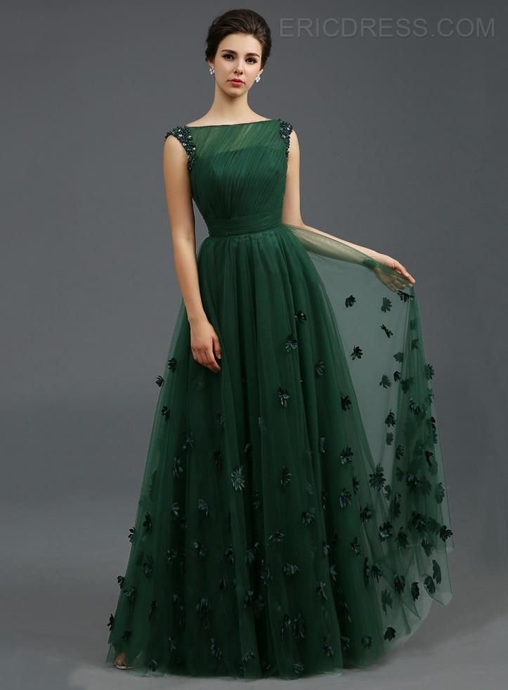 Vintage Bateau Appliques A-Line Long Evening Dress | Cool Threads ...