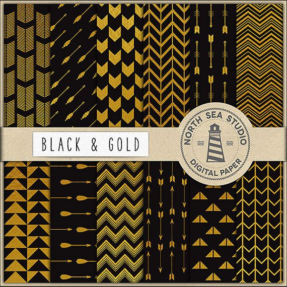 "Gold Tribal Digital Paper -  http://etsy.me/2aWBYlx 12 tribal scrapbooking paper: ""BLACK AND GOLD"" with gold arrow patterns."