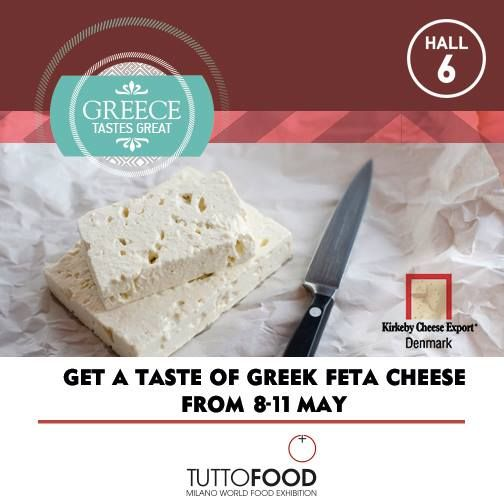 Get a taste of Greek Feta Cheese at the 6th edition of Tutto Food 8-11 May in Milan! In Hall 6, company Kirkeby Cheese Export A/S which history dates back to 1906 when Kirkeby Dairy was established. #greecetastesgreat #greekparticipationtuttofood2017 #tuttofood2017 #tuttofood #kirkebycheese  http://kirkeby-cheese.dk/en/