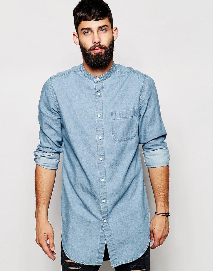 ASOS+Denim+Shirt+In+Super+Longline+With+Mid+Wash+And+Grandad+Collar