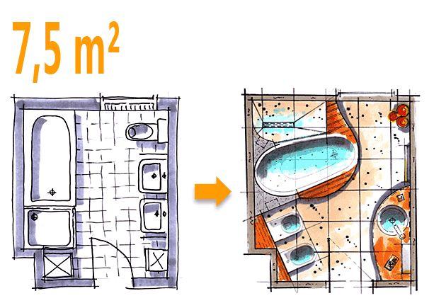 Badplanung Beispiel 7,5 qm Badoase auf kleinem Raum