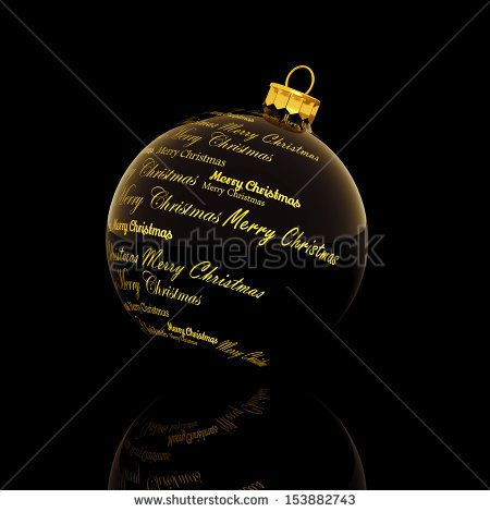 Merry Christmas words forming a Christmas ball on black background