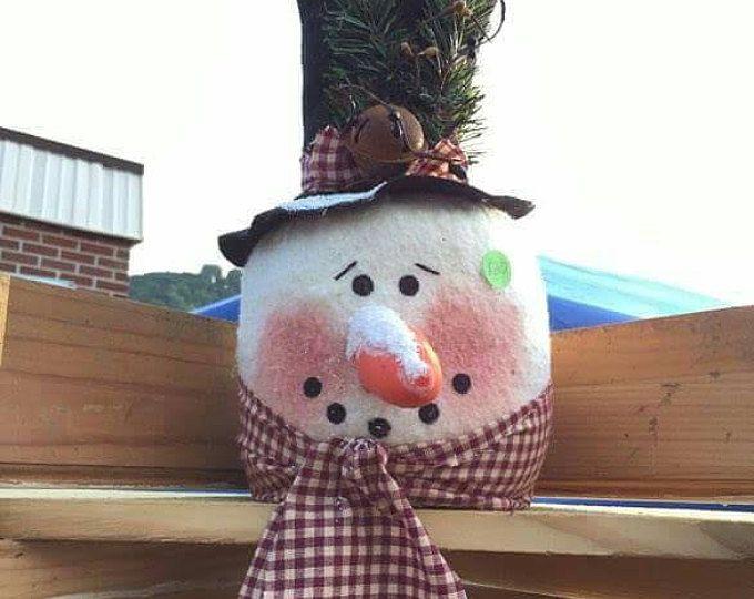 Handmade snowman tree toppers