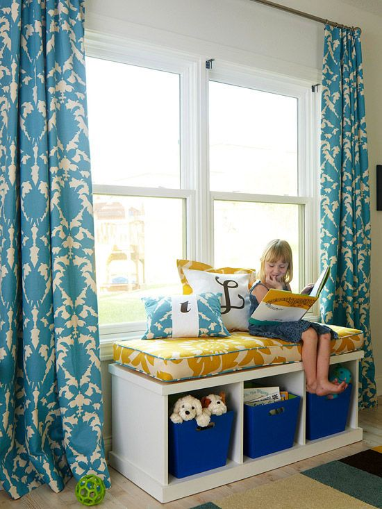 fun playroom/office space: Ideas, Curtains, Colors, Living Room, Playrooms, House, Window Seats, Storage Benches, Kids Rooms