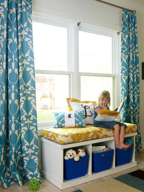 (Jenni) Designer fabric kids reading nook. #Designer #HomeDecor #Fabric #Sewing #ThomasPaul: Idea, Color, Kids Room, Living Room, Playroom, Windowseat, Window Seats