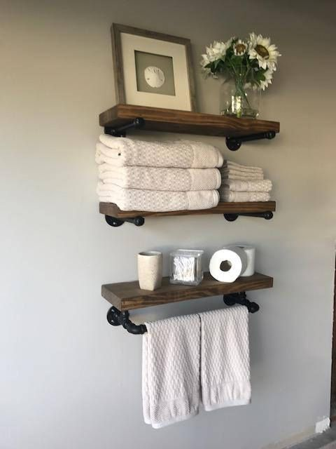 Rustic Floating Shelves W Towel Bar Set Of 3 8 Quot Deep