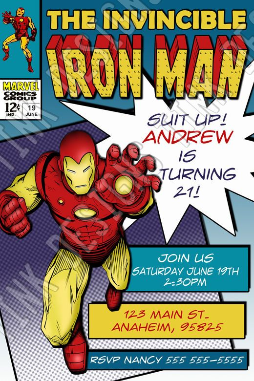 Invitations Iron Man Birthday 3 party favors Avengers comic book Ironman