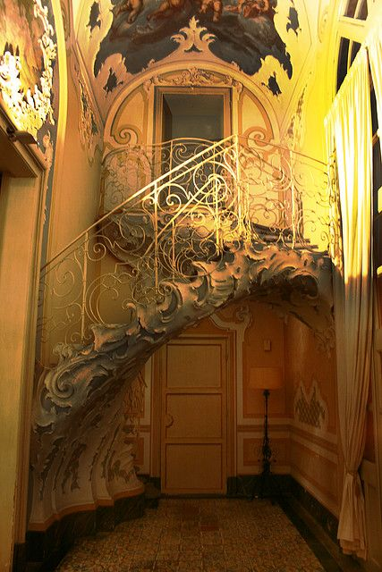Staircase at Palazzo Biscari. Sicily Italy AN