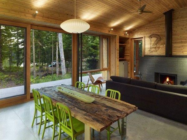 Stylish modern cabin house interiors