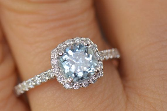Kylie Aquamarine and White Diamond Halo by DiamondDoveJewelry, $775.00
