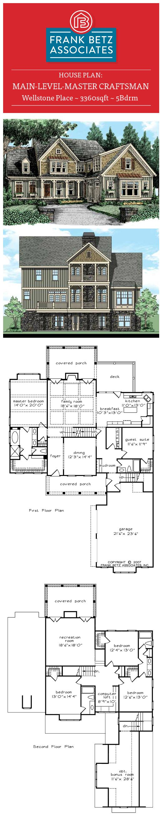 Betz house plans with large kitchen frank house plans designs ideas - Wellstone Place 3360sqft 5bdrm Main Level Master Craftsman House Plan By Frank Betz
