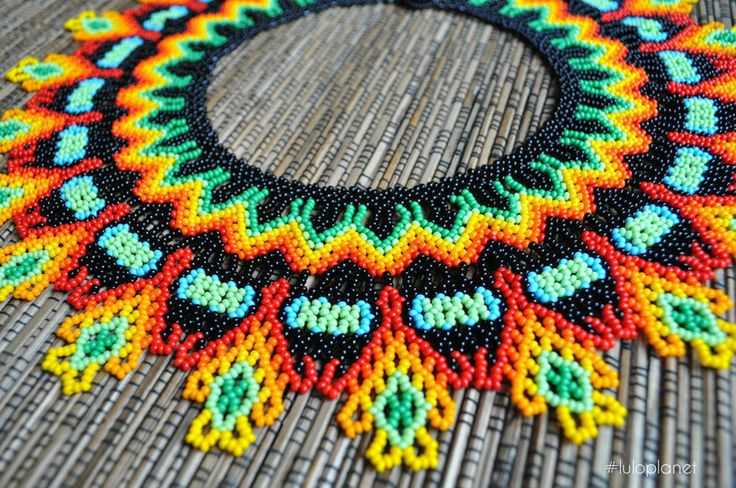 Boho choker made by Embera tribe  from Colombia – unique & authentic available at #luloplanet shop #boho #bohochic #bohostyle #beading #beaded #handmade