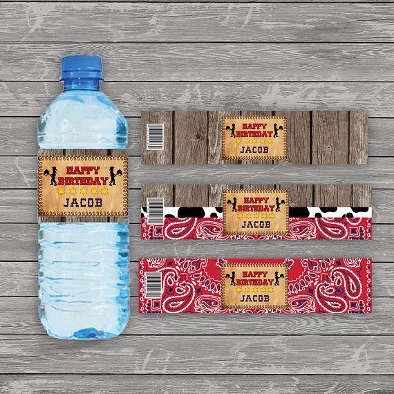 Cowboy Water Bottle Label Western Water Bottle Label Wild