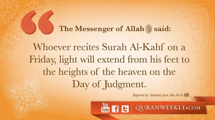 It is recommended to recite the surah early on Friday or before or after the Jummah prayer. Description from anublog.com. I searched for this on bing.com/images