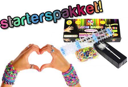 Doe mee! Loom armbandjes compleet starterspakket met o.a. 600 elastiekjes en loom board t.w.v. €19,95 nu €3,95   #Aanbieding #korting #loom   https://www.vouchervandaag.nl/loom-elastiekjes-armband-trend-kinderen-speelgoed-starterspakket-korting