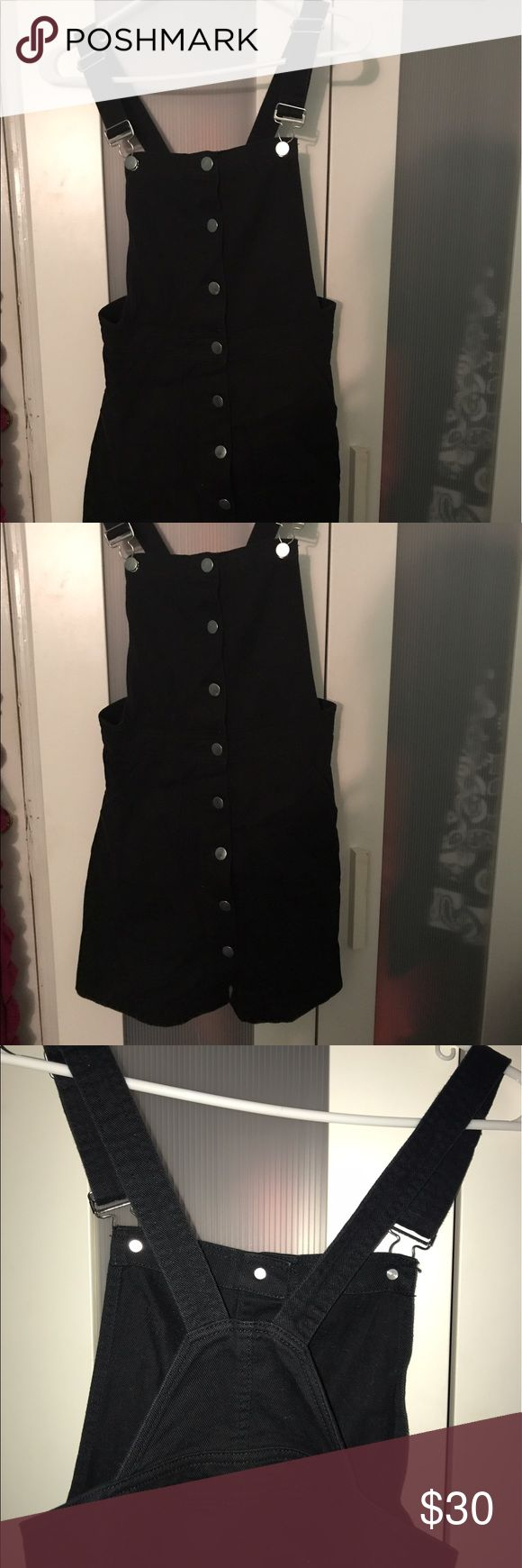 Black Overall Jumper Dress Adorable black overall dress with silver buttons and hooks! H&M Other
