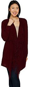 As Is Isaac Mizrahi Live! 2-Ply Cashmere Open Front Fringe Cardigan
