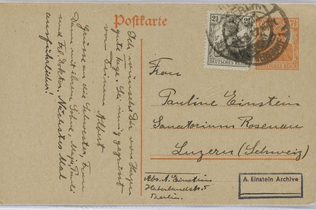 A postcard sent by Albert Einstein to his sick mother in which he told her that British astronomers had showed his predictions on the bending of light were correct. Source: The Hebrew University of Jerusalem via Bloomberg
