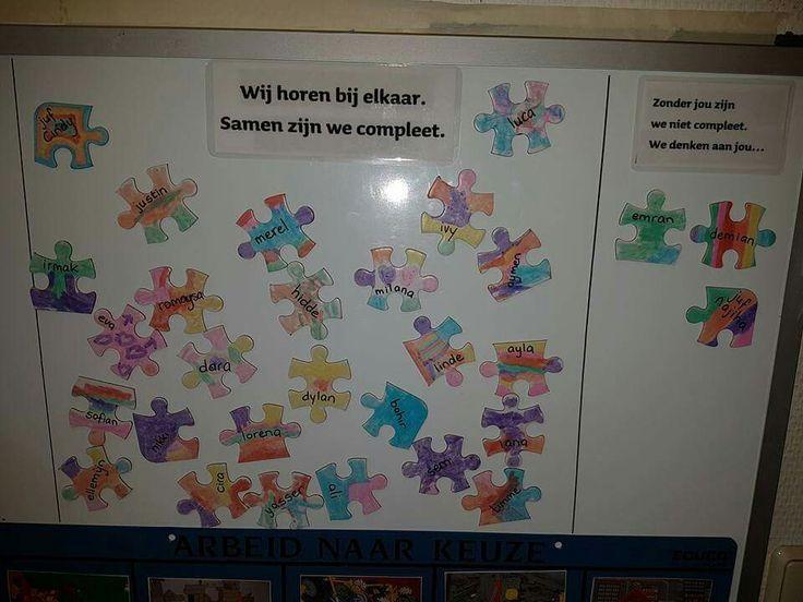 Puzzelstukjes met de namen van de kinderen