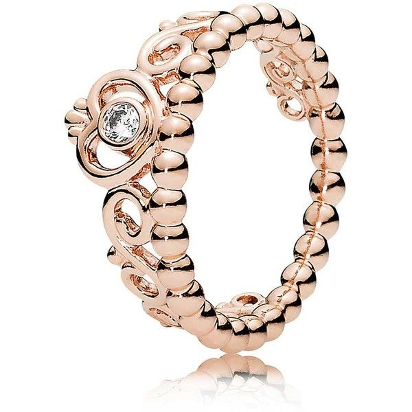 PANDORA Rose My Princess Tiara CZ Ring ❤ liked on Polyvore featuring jewelry, rings, cz jewellery, heart ring, rose jewelry, cubic zirconia jewelry and heart shaped jewelry
