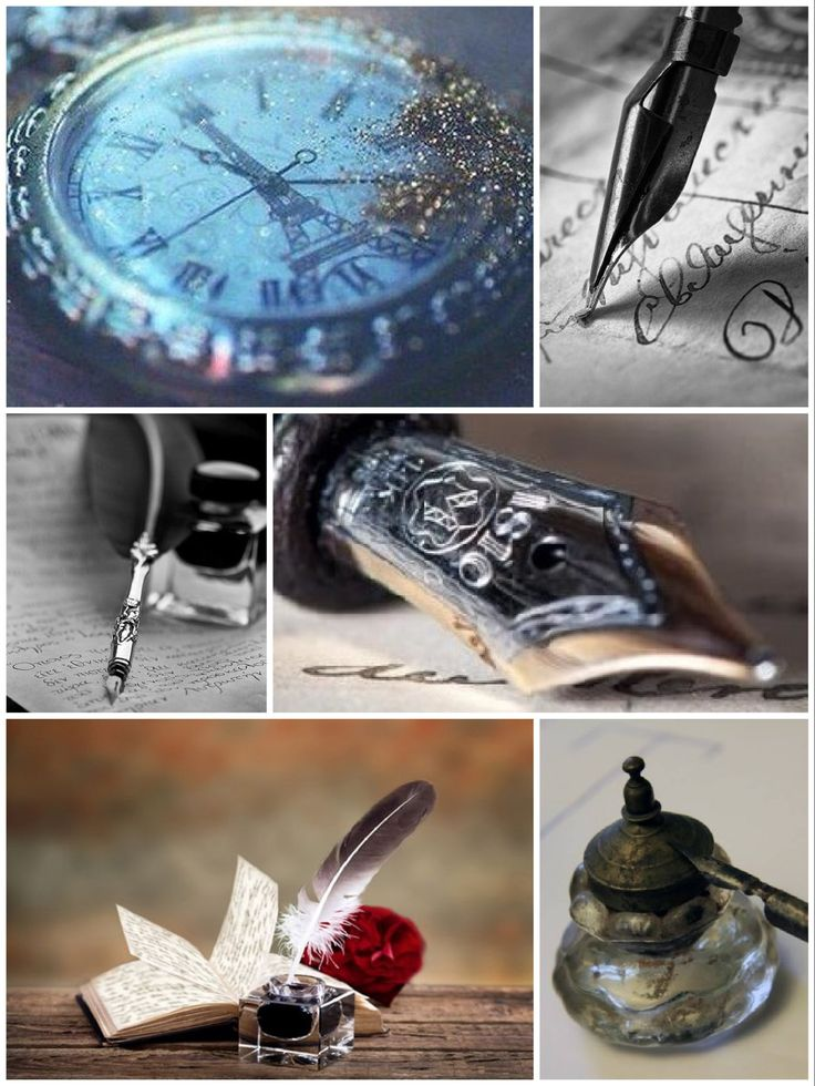 перьевая ручка, чернильница, часы