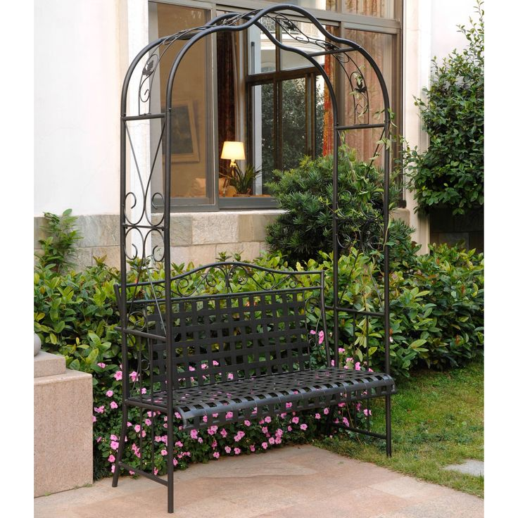 International Caravan Wrought Iron Arbor Bench - Overstock Shopping - Great Deals on Outdoor Benches