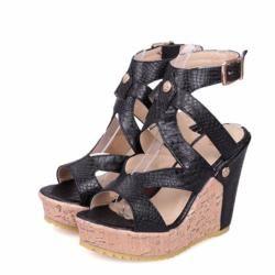 Summer Sexy Women Punk Wedge Heel Buckle Open Toe Platform Cut Out Sandals  Shoes