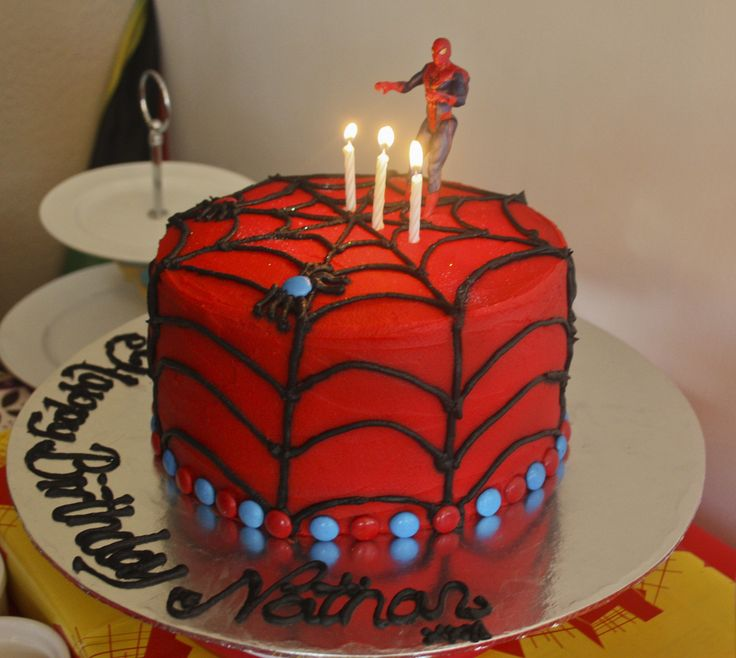 First attempt at a Spiderman cake for my nephew Nathan's 3rd birthday.