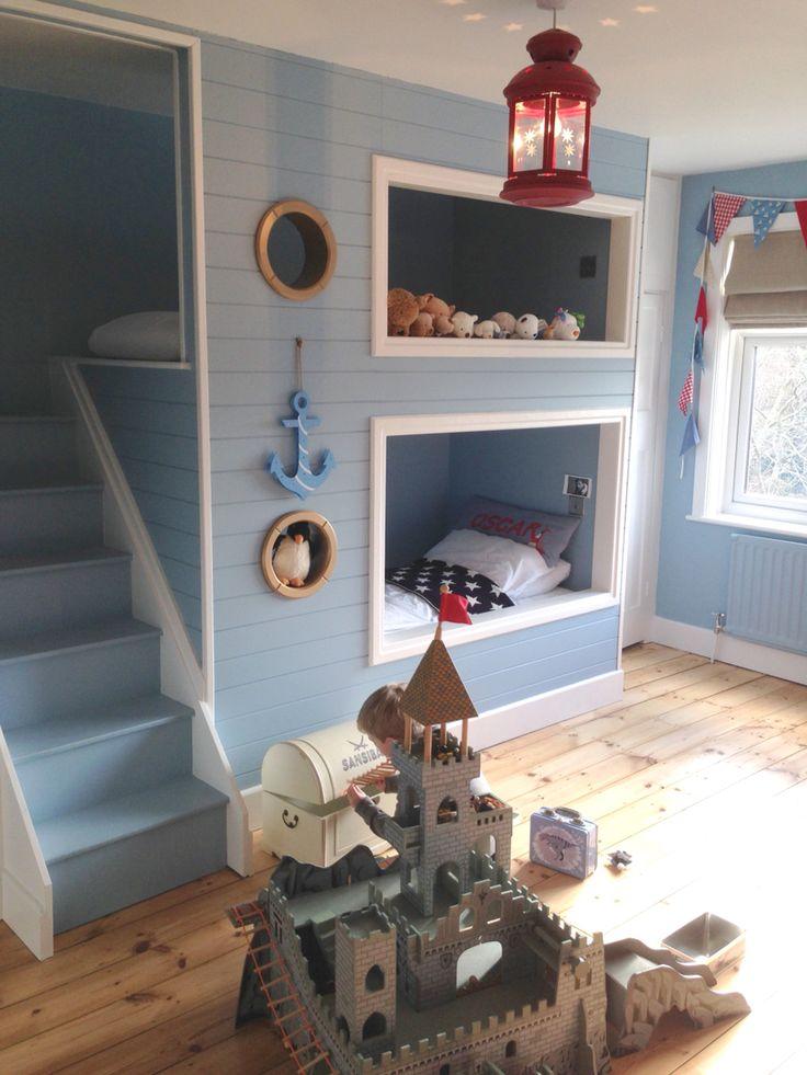 Bunk beds, built in, nautical, boys room, blue room, toddler bedroom, port hole.  Carpenter made bespoke bunk beds
