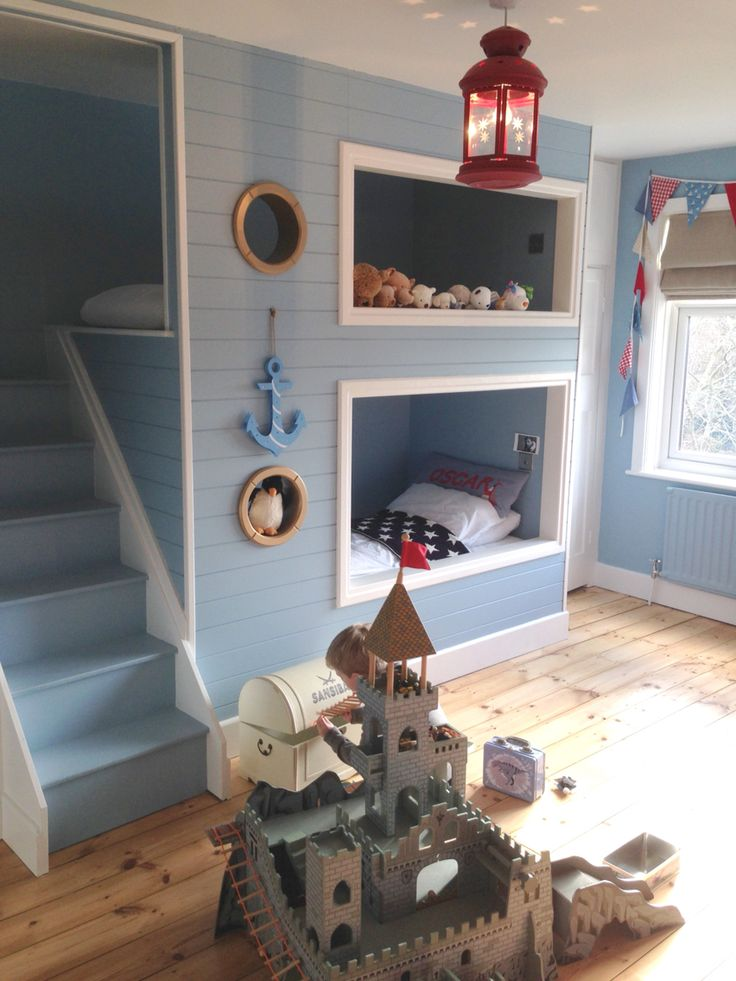 Bunk beds built in nautical boys room blue room Bunk bed boys room