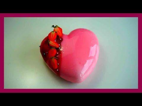 Mirror glaze - Hibiskus - Erdbeer Sahne Torte mit Spiegelglasur - Glacag...