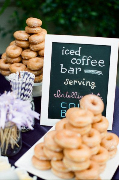 Iced coffee and donut bar for outdoor party - but do a hot chocolate and chocolate milk station with donuts instead