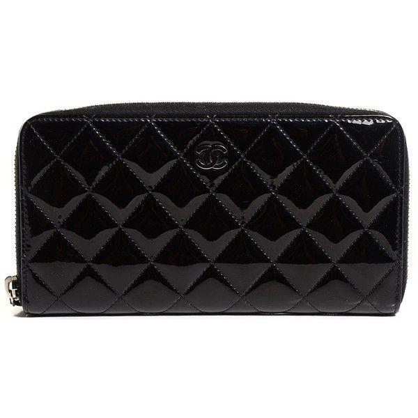 CHANEL Patent Calfskin Quilted Large Gusset Zip Around Wallet Black and other apparel, accessories and trends. Browse and shop 8 related looks.