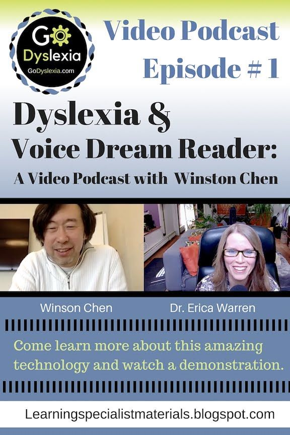 Dyslexia and Voice Dream Reader: Discussion and Demonstration with Winston Chen.  This blog shares my most recent video podcast featuring Winston Chen, the author of my favorite app for readers with dyslexia.  This is the first of many free video podcasts for Go Dyslexia!