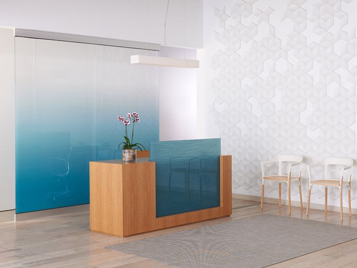 Out Of Box Reception Desk With Glass Wall And Wall Tiles