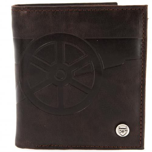 Classic brown leather Arsenal FC wallet with embossed club crest on the front and the wording GUNNERS on the back. FREE DELIVERY on all of our gifts