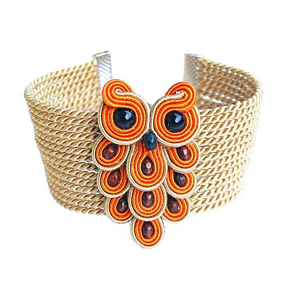 Hey, I found this really awesome Etsy listing at https://www.etsy.com/listing/207007734/soutache-owl-bracelet-orange-beige